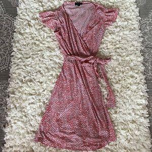 Wrap around red and white dress